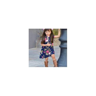 Me floral Filha Imprimir vestido de manga curta Famªlia Mesma roupa vestido