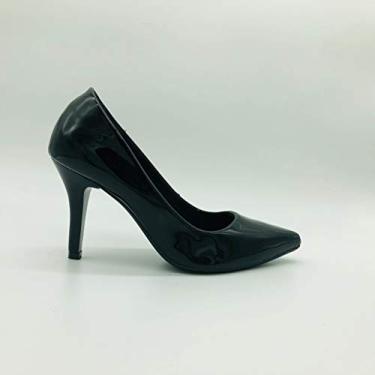 Scarpin Mozione Sapato Bico Fino Salto 9 Cm Conforto Macia (39, Preto)