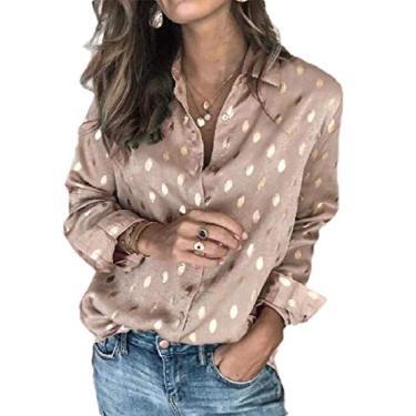 Camisa feminina SHOWNO de manga comprida estampada com botão de ouro, Champagne, S