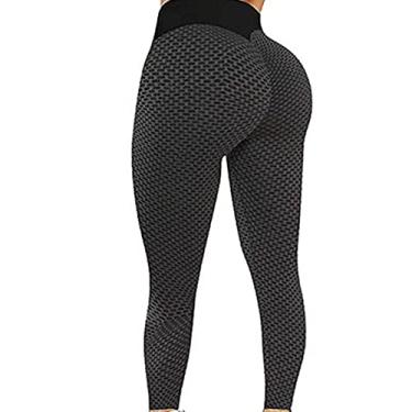 Imagem de Calça legging feminina de cintura alta XWU, para Tik Tok, treino, corrida, levanta o bumbum, texturizada, franzida