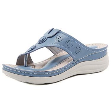 Imagem de SaraIris Sandália anabela ortopédica feminina confortável peep toe sandália vintage floral para ambientes internos e externos, 7 Azul claro, 9.5