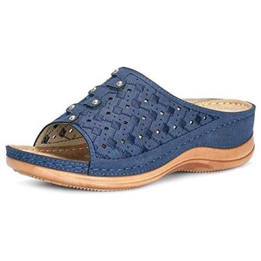 Imagem de Sumerlly Chinelo ortopédico premium leve antiderrapante plataforma sandália feminina, Azul, 42