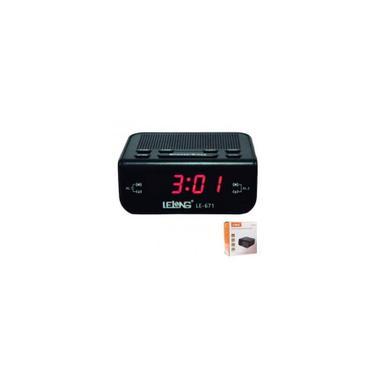 Imagem de Relógio Despertador Lelong Digital Elétrico De Mesa Radio Am Fm