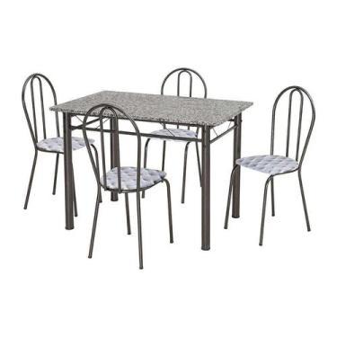Imagem de Conjunto De Mesa Monique Com 4 Cadeiras Craqueado Preto Capitonê - Art
