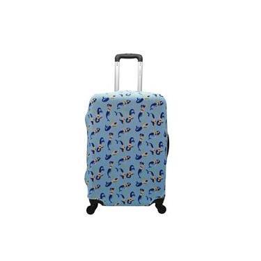 Capa de Mala Proteção Viagem Média Elastano Sereia azul
