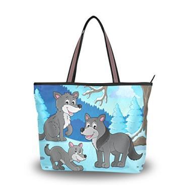 ColourLife Bolsa de ombro com tema de lobos, alça superior, sacola de tecido de poliéster para mulheres, Colorido., Large