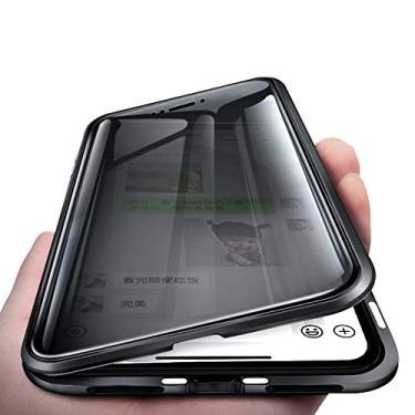 KMXDD Capa de corpo inteiro antiespionagem para Galaxy S10 S9 S8 Plus 360°, vidro temperado de dupla face transparente [absorção magnética] Capa de proteção de para-choque de metal para Note 10 9 8, GalaxyS9Plus, Prata