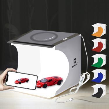 Imagem de Mini caixa de foto dobrável luz fotografia estúdio câmera foto tiro tenda caixa kit difusa estúdio