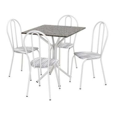 Imagem de Conjunto De Mesa Thais Com 4 Cadeiras Branca Linho - Artefamol