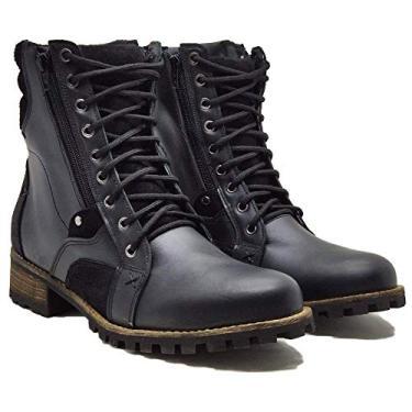 Coturno Casual Cano Alto Masculino 755 Em Couro Boots Com Ziper Cor:Preto;Tamanho:38