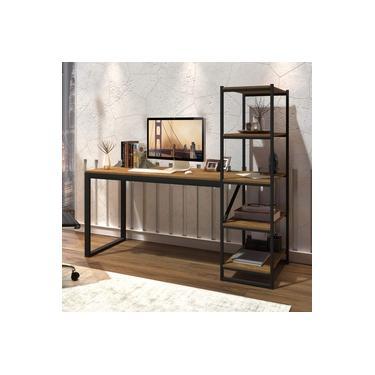 Escrivaninha com Estante 4 Prateleiras Innovare Espresso Móveis Preto/Canela Rústico