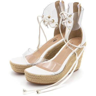 Sandália Flor da Pele Anabela Salto Alto Branco e Transparente  feminino