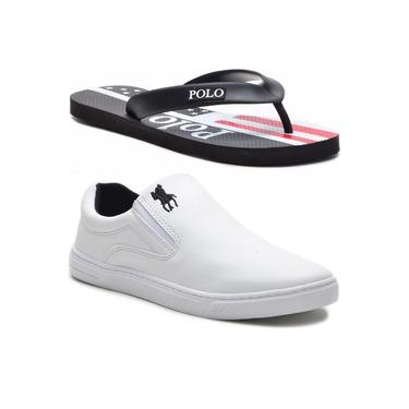 Sapatênis Slip On Masculino Polo Plus Original + Chinelo Branco