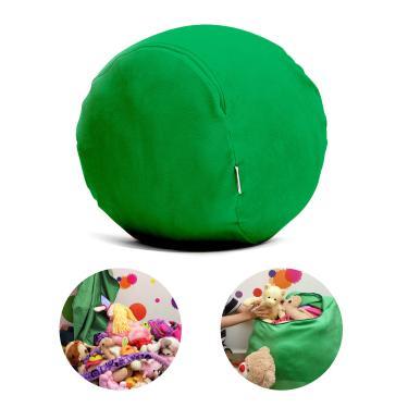 Puff Organizador Infantil para Bichos de Pelúcia Verde