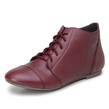 Bota Feminina Casual Confort Cano Curto Ankle Boot Cavalaria Cor:Vermelho;Tamanho:36