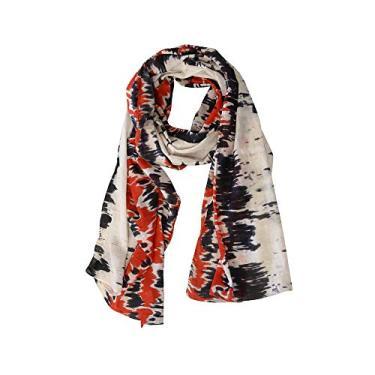 Echarpe em Algodão Branco com Estampa Tie Dye Vermelho e Preto A180xL50 cm