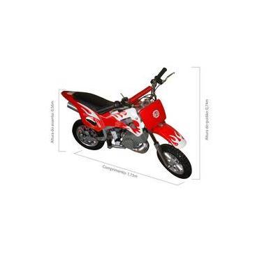 Mini Moto Cross Trilha 49cc BZ Fire Vermelha Partida a Corda Gasolina com Óleo 2 Tempos BARZI MOTORS
