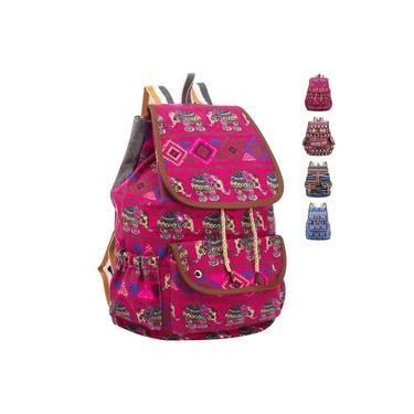 Mochila Escolar Feminina Moda Estampa Etnica rua Comutar Multifunções Antifurto Bolsa de viagem