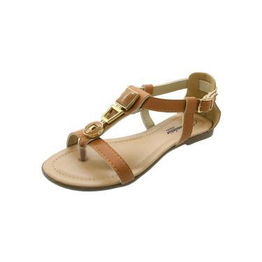 Sandália Rasteira Romântica Calçados Caramelo  feminino