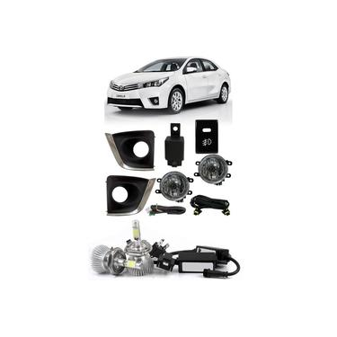 Kit Farol de Milha Neblina Toyota Corolla 2015 2016 2017 + Kit Lâmpada Super LED 6000K
