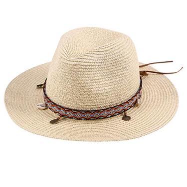Chapéu de sol lindo laço decorativo chapéu de palha ajustável para mulheres, praia, viagens ao ar livre (bege)