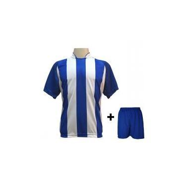 Uniforme Esportivo com 18 camisas modelo Milan Royal Branco + 18 calções  modelo Madrid Royal 7fccd297b4f99