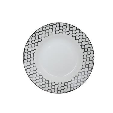 Jogo de pratos fundo em porcelana Casambiente Agatha 20cm 6 peças preto