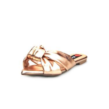 Sandalia Love Shoes Rasteira Bico Folha Nó Metalizadas Bronze  feminino