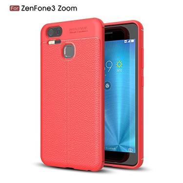 Capa para Asus Zenfone 3 Zoom ZE553KL com estampa Litchi e capa traseira de TPU ultrafina vermelho