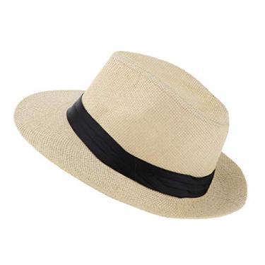 oshhni Chapéu Panamá de palha masculino e feminino Fedora Trilby Chapéu de sol Sombrero aba larga, Bege, as described