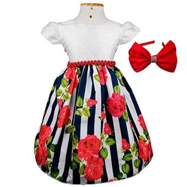 Vestido de Festa Listra Preta E Flores Vermelhas Com Tiara G - 3