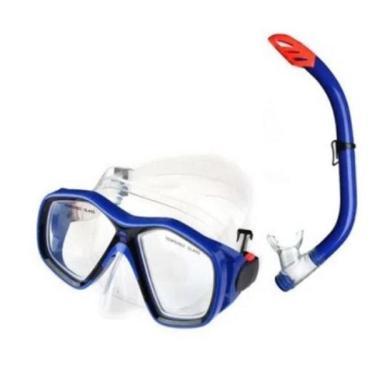 Kit Mergulho Mascara E Snorkel Juvenil Azul Es379 Multilaser