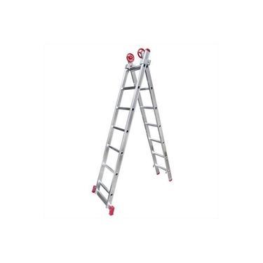 Escada de alumínio extensível 2 x 7 degraus 2,13 x 3,32 m - MODELO 3 em 1 - Rotterman