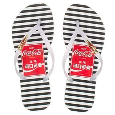 Chinelo Feminino Coca Cola Shoes Listras Branco Preto CC2749
