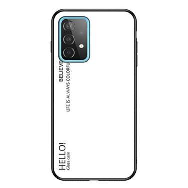 MOONCASE Capa para Galaxy A52 5G, TPU macio ultra fino + vidro transparente + padrão de cor gradiente anti-impressão digital resistente a arranhões para Samsung Galaxy A52 5G 6,5 polegadas - Branco