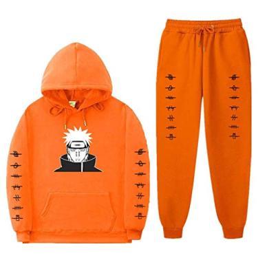 SAFTYBAY Naruto moletom com capuz + calça de moletom para dor Akatsuki terno unissex anime Naruto Manga Pein moletom com capuz, Laranja, M