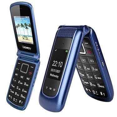 Imagem de Uleway 3G Flip Phone desbloqueado botão SOS Dual Screen Senior Flip Phone desbloqueado celular básico para idosos e crianças (azul)