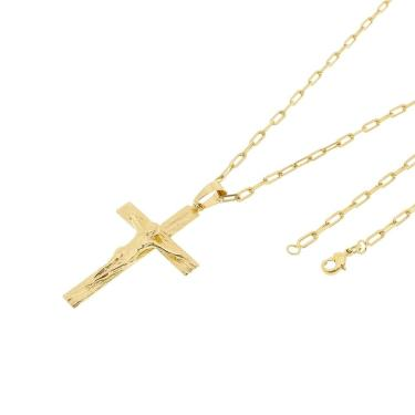 3f435297f52 Pingente Cruz Com Corrente Cartier Longa Tudo Jóias Folheado a Ouro 18k  Dourada unissex