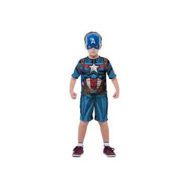 Imagem de Fantasia Capitão América com Máscara Infantil Clássico Curto Os Vingadores