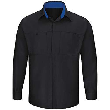 Imagem de Red Kap Camisa masculina de manga comprida Performance Plus Shop com tecnologia Oilblok, Preto com malha azul royal, M