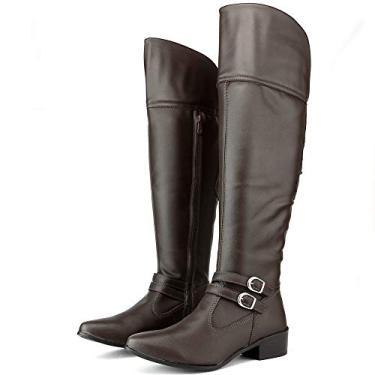 Bota Over The Knee Feminina Preta Camurça Salto Baixo Acima Dos Joelhos Tamanho:34;Cor:Marrom