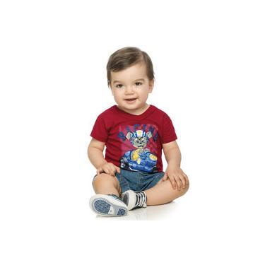 Camisa Bebê Elian Meia Malha Flamê Ursinho Campeão Vermelho