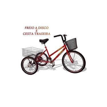 Bicicleta Triciclo Deluxe Wendy Aro 26 Completo Vermelho