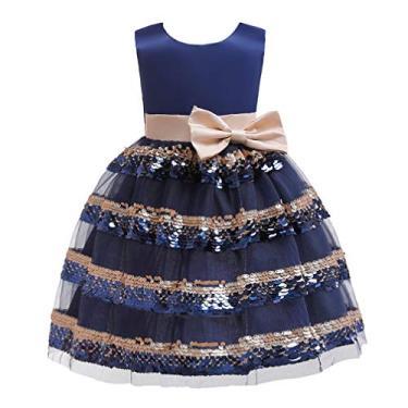 Imagem de NUOBESTY Vestido de princesa sem mangas para meninas, vestido de baile, vestido de festa, fantasia para casamento, aniversário, daminha (azul, tamanho 110 cm)