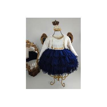 Vestido Infantil Nude Com Azul Marinho 1834