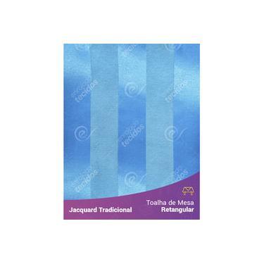 Imagem de Toalha De Mesa Retangular Em Tecido Jacquard Azul Frozen Listrado Tradicional