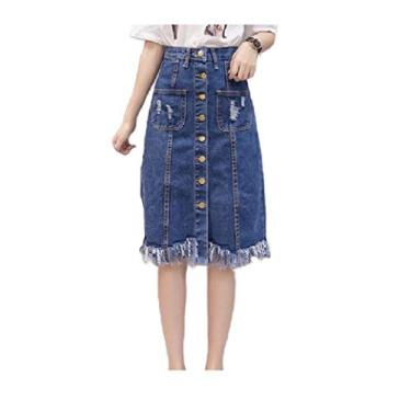 Saia HEFASDM feminina com bainha crua e bolsos grandes e cintura alta única, Azul, US XL=China 2XL