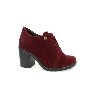 Sapato Quiz Oxford Nobuck Feminino Bordô