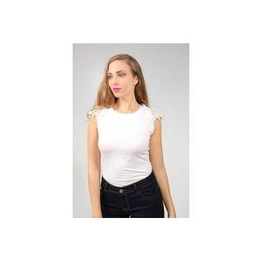 496a5a419b Blusa Feminina Com Manga Curta De Renda E Aplicação De Pérola Branca