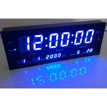 Relógio De Parede Grande Led Digital Alarme Br - Azul 33cm garantia:Sim;Modelo:JH3313;